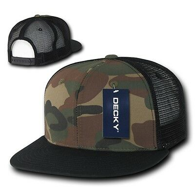 (DECKY Camouflage FLAT Bill Trucker Hat 6 Panel Mesh Snapback Hats Camo Army Cap)