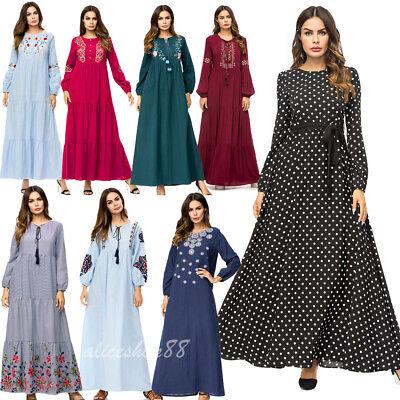 Abaya Women Embroidery Long Maxi Dress Muslim Kaftan Cocktail Party Jilbab Gown