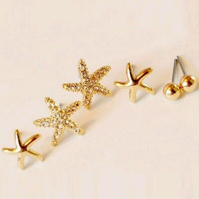 Metal Stars For Sale (3 Pairs/Bag Star Shape Earrings for Women Girls Jewelry - Gold Thanksgiving)