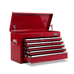9 Drawers Toolbox Chest Cabinet Tool Box Roller Trolley Red