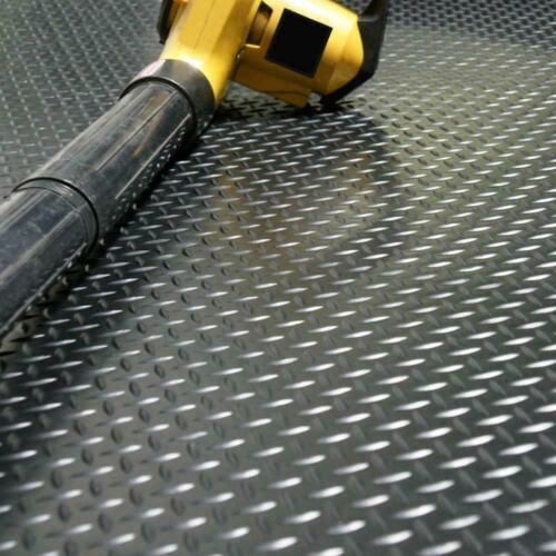 Garage Rubber Mat Flooring 4 x 10 Ft. Roll Diamond Plate Gym Protector Black NEW