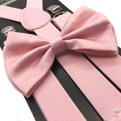 Blush Pink Wedding Suspender and Bow Tie Set for Adults Men Women (USA)