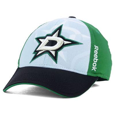 Dallas Stars NHL 2nd Season Draft Flex Cap Hat Reebok Men's White Green & Black  2nd Season Cap