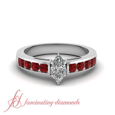 1.5 Ct Marquise Diamond And Ruby Best Diamond Engagement Rings In White Gold GIA