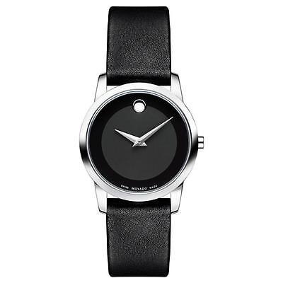 Movado Museum Classic 0606503 Black Leather Analog Swiss Quartz Women's Watch