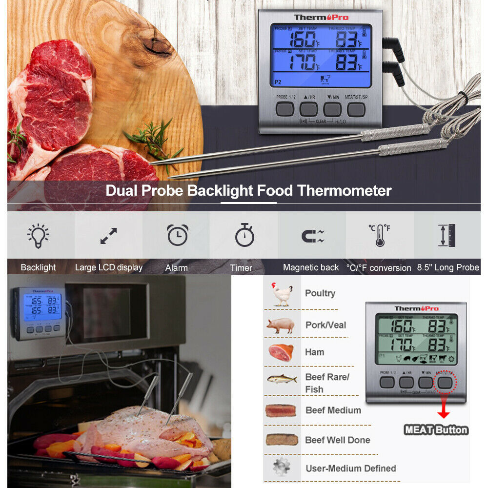 Prolong Dual 2 Probe Digital Meat Cooking Thermometer Grill