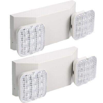 2x Led Emergency Exit Light Adjustable Dual Head Battery Backup Residential Q8k2