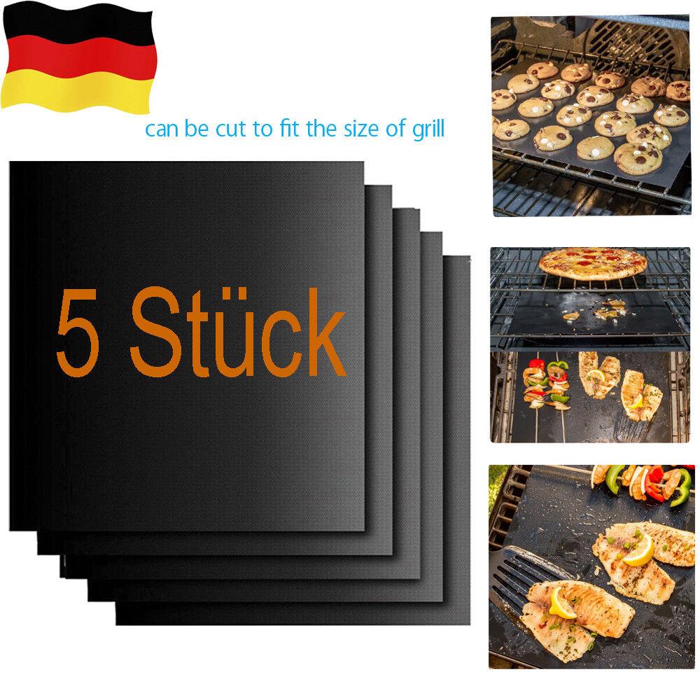 5X Grillmatte Dauer antihaft BBQ Grillmatten Bratfolie Backmatte Grillschale NEU
