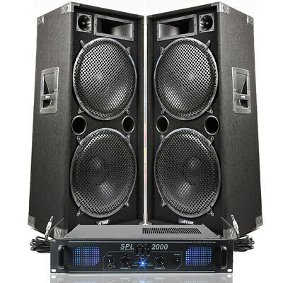 """Dual 15"""" Complete DJ PA Speakers + Amplifier Band Sound System 3000W SSC2814"""