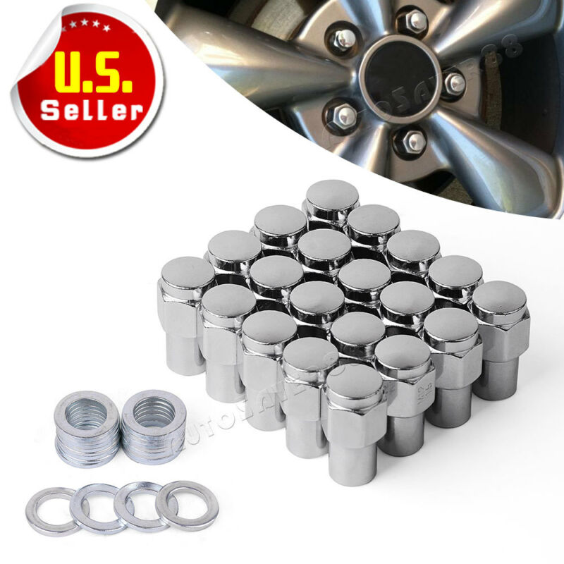 20 Chrome M12x1.5 Mag Style Lug Nuts w/Washer for Toyota Honda Acura Ford Chevy