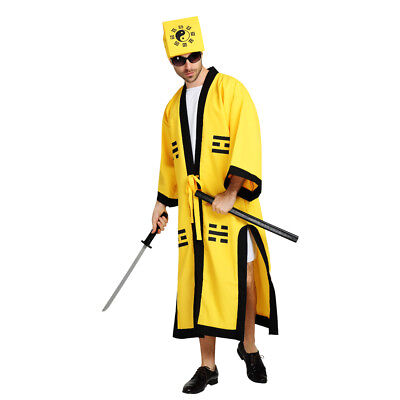 Chinese Style Men's Robe Taoist priest Dress Up Costume Cosplay Halloween Outfit (Male Chinese Halloween Costumes)