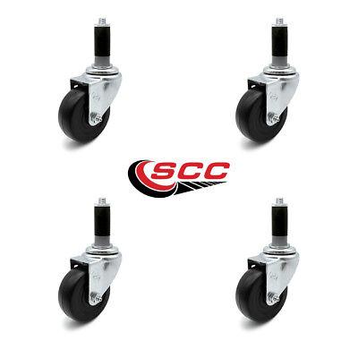 Scc 3.5 Hard Rubber Wheel Caster W1 Expanding Stem - Set Of 4