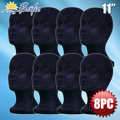11 Styrofoam Foam Black Mannequin Manikin Head Display Wig Hat Glass 8pc