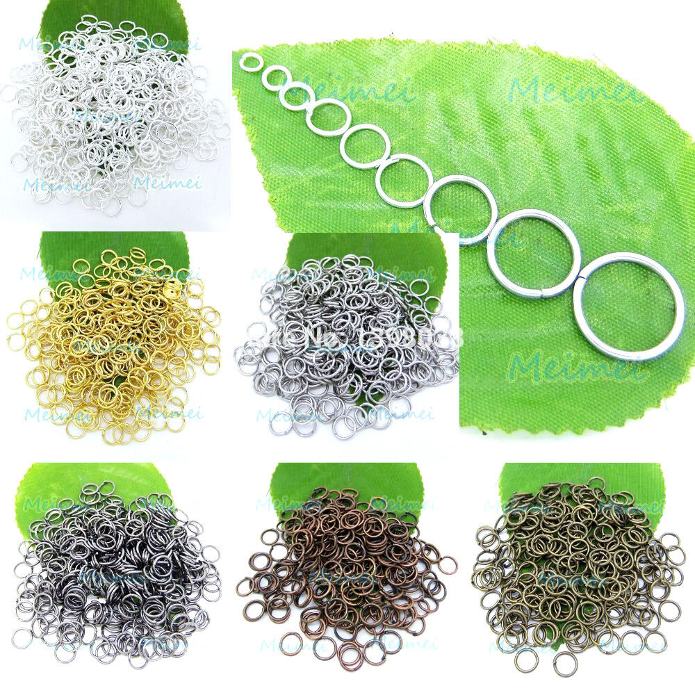 Jewellery - 100pcs 3mm - 20mm Open Jump Rings Split findings Jewelry Making Craft Round Oval