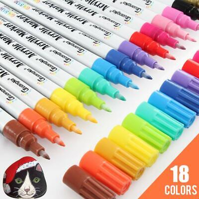 18 Bright Colors 0.7mm Fine Tip Water-Based Permanent Acrylic Paint Markers Set