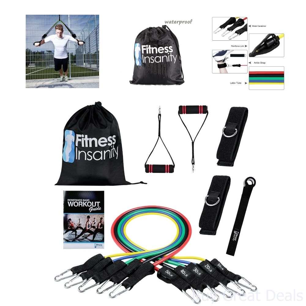 5 Stackable Exercise Rubber Resistance Band Set Waterproof C
