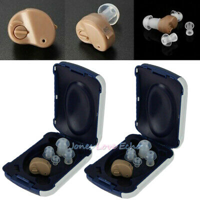 2x Small In Ear Invisible Best Sound Amplifier Adjustable Tone Hearing Aids