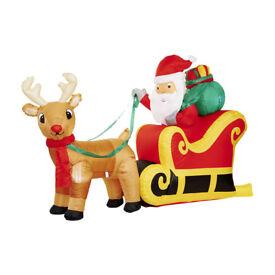 New Light Up inflatable Santa & Sleigh - Christmas decoration