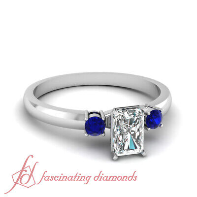 1.10 Ct Platinum Engagement Rings With Radiant Cut Diamond And Blue Sapphire GIA