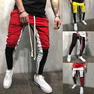 Men Hip Hop Side Ankle Zip Long Drawstring Techno Track Pants Patchwork -
