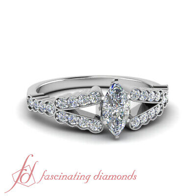 Milgrain Style Engagement Ring 3/4 Carat Marquise Cut Diamond SI1 GIA Certified