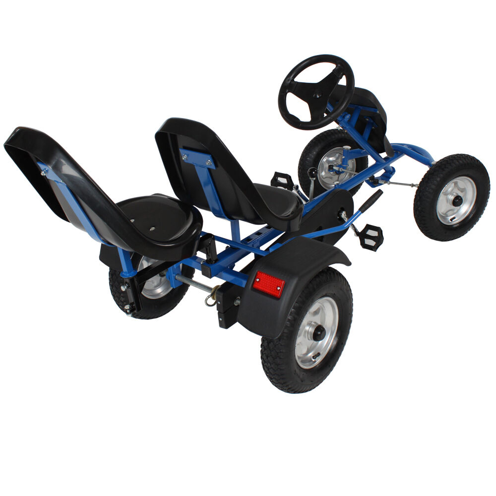 go kart pedales 2 places cart biplace v hicule enfants voiture bleu eur 354 90 picclick fr. Black Bedroom Furniture Sets. Home Design Ideas