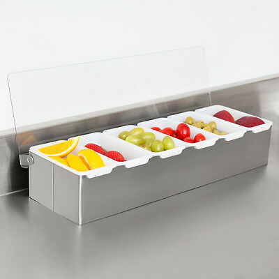 Thunder Group Stainless Steel 6 Compartment Easy To Maintain Condiment Dispenser