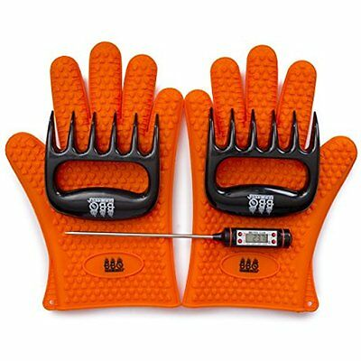 Bbq Gloves  Meat Claws Digital Instant Read Thermometer  3 Pc Set    Heat Tool