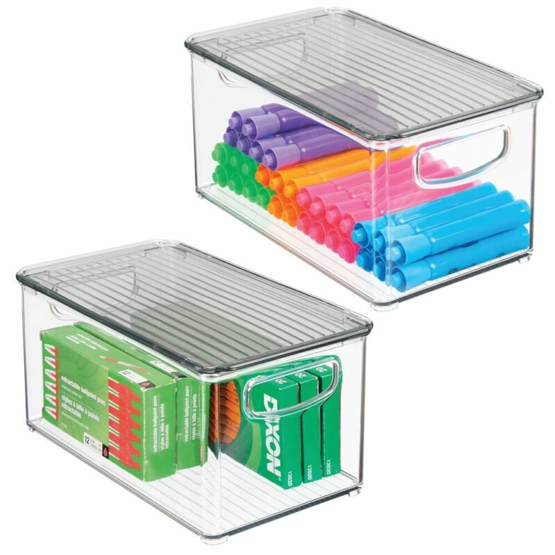 mDesign Plastic Storage Bin, Lid for Home Office Workspace, 2 Pack - Clear/Smoke