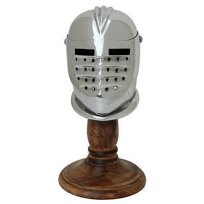 Medieval Miniature Knights Maximilian Mild Steel Helmet Display and Wooden Stand