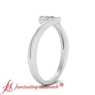 Single Round Cut Diamond Split Shank Bypass Engagement Ring For Women 0.90 Carat 2
