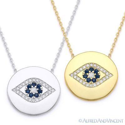 Evil Eye CZ Turkish Nazar Greek Charm Circle Necklace Pendant in Sterling Silver ()