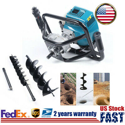 52cc Earth Auger Ground Hole Digger Post Dig Gasoline Engine 4 8 Drill Bit