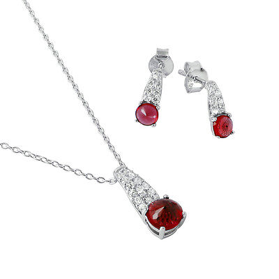 925 STERLING SILVER BIRTHSTONE PENDANT NECKLACE & EARRING SET /RUBY / JULY ()