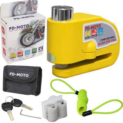 LEOPARD Bike Motorbike Motorcycle Scooter Alarm Disc Lock Brake Pouch Yellow