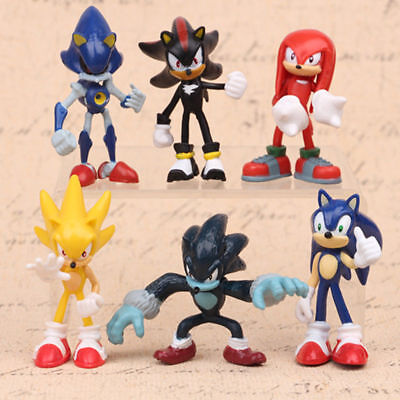 Sonic The Hedgehog Knuckles Shadow 6 Pcs Action Figure Cake Topper Doll Gift Toy