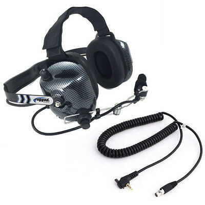 Rugged H41 Behind the Head Two Way Radio Headset Racing Vertex Coil Cord Cable