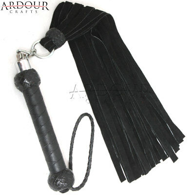 Genuine Cow Hide Suede Leather Flogger 26 Black Falls Heavy Duty Revolving Whip Black Suede Leather Whip