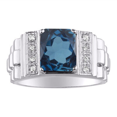 Mens Diamond & Simulated Blue Topaz Sterling Silver Designer Style Ring
