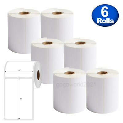 6 Rolls 4x6 250 Direct Thermal Shipping Labels For Zebra 2844 Zp450 Eltron