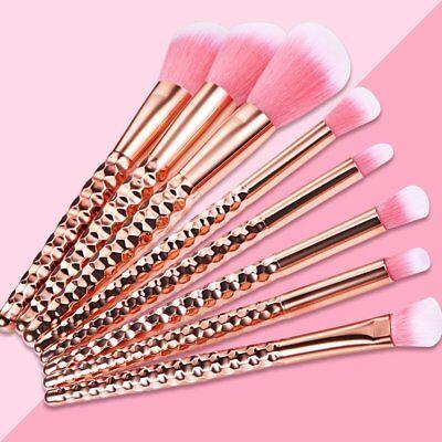 Professional 8Pcs Kabuki Make Up Brush Set Kabuki Cosmetic Brushes Case Rosegold