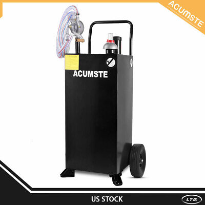 30 Gallon Gas Caddy Tank W Pump Wheel Hose Fuel Storage Gasoline Diesel Black