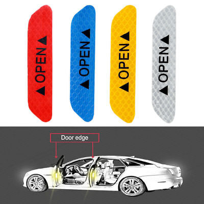 Red 4PCS Super Car Door Open Sticker Reflective Tape Safety Warning Decal DIY