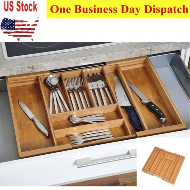 Bamboo Cutlery Tray Expandable Utensil Drawer Kitchen Organi