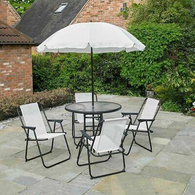 Garden Furniture - GARDEN PATIO CREAM FURNITURE SET 6PC 4 SEATER OUTDOOR ROUND DINING PARASOL Wido