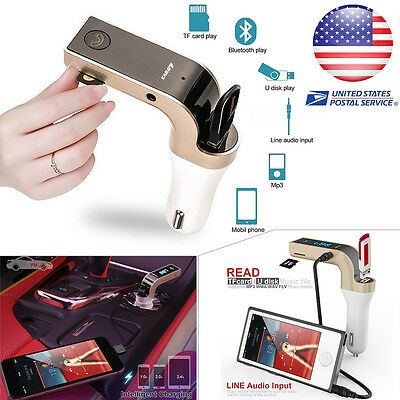 US Universal Car Bluetooth FM Transmitter MP3 Radio Player USB Charger  AUX Set