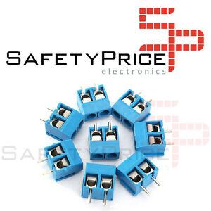 10x-Borna-Clema-Connessione-2-spinotti-5mm-Blu-PCB-linkable-vite-bloccaggio