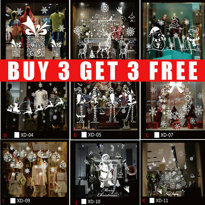 Home Decoration - Christmas Window Stickers Xmas Santa Removable Art Decal Wall Home Shop Decor ZM