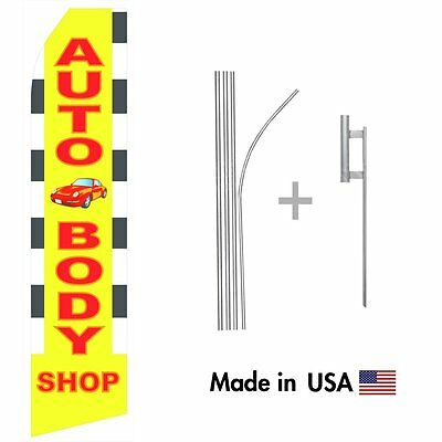 - Auto Body Shop Econo Flag 16ft Advertising Swooper Flag Kit with Hardware