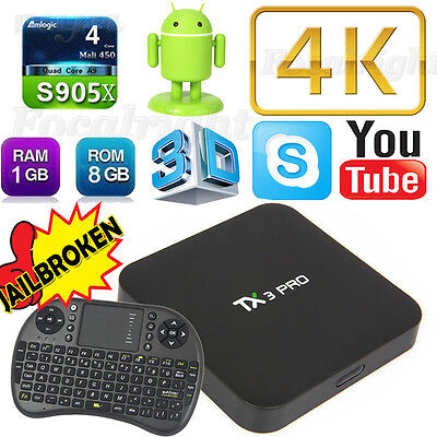 US STOCK TX3 PRO 4K S905x Quad Core Android6.0 TV Box Fully Loaded+Keyboard